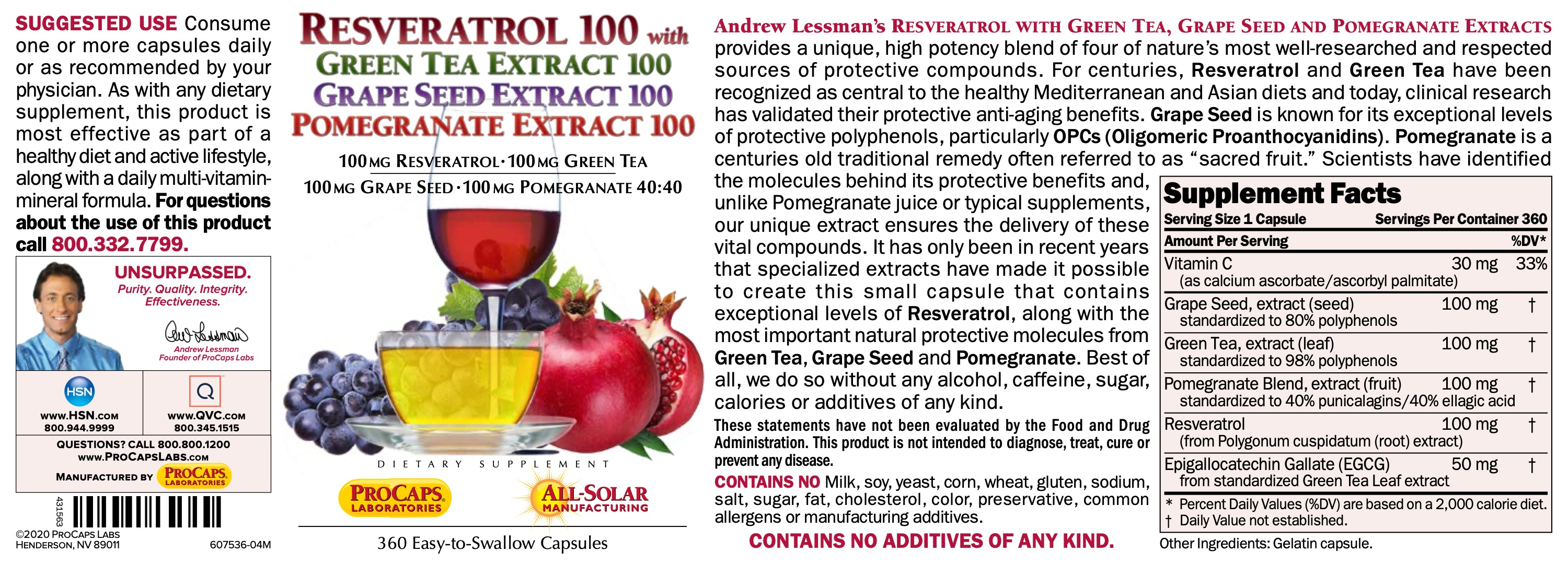 Resveratrol-100-with-Green-Tea-100-Grape-Seed-100-Pomegranate-100-Capsules-Anti-oxidants