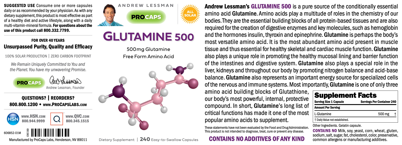 Glutamine-500-Capsules-Amino-Acids